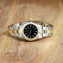 Rolex Oyster Perpetual Steel 27mm Black No numerals