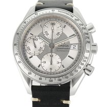 Omega Speedmaster Date pre-owned 39mm Silver Chronograph Date Leather
