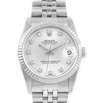 Rolex Datejust Midsize Steel 18k White Gold Diamond Ladies...