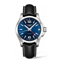 Longines Conquest GMT, L36874992, Blue Dial, St. Steel & Leather