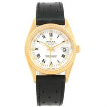 Rolex Date Yellow Gold White Dial Mens Watch 15238 Box Papers