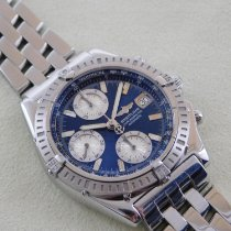 Breitling Chronomat gebraucht 39mm Blau Chronograph Datum Stahl