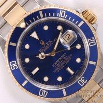 Rolex Blue Submariner 16613T No Hole 2 Tone 18k Yellow...