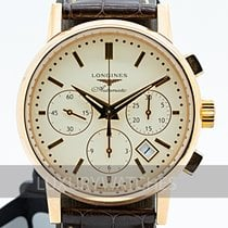Longines Column-Wheel Chronograph pre-owned 36mm Champagne Chronograph Leather