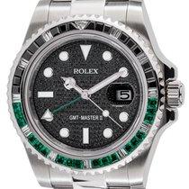 Rolex GMT-Master II Steel Black/Green Precious Stones Bezel...
