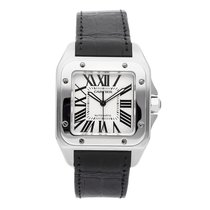 Cartier Santos 100 pre-owned 51mm Silver Crocodile skin