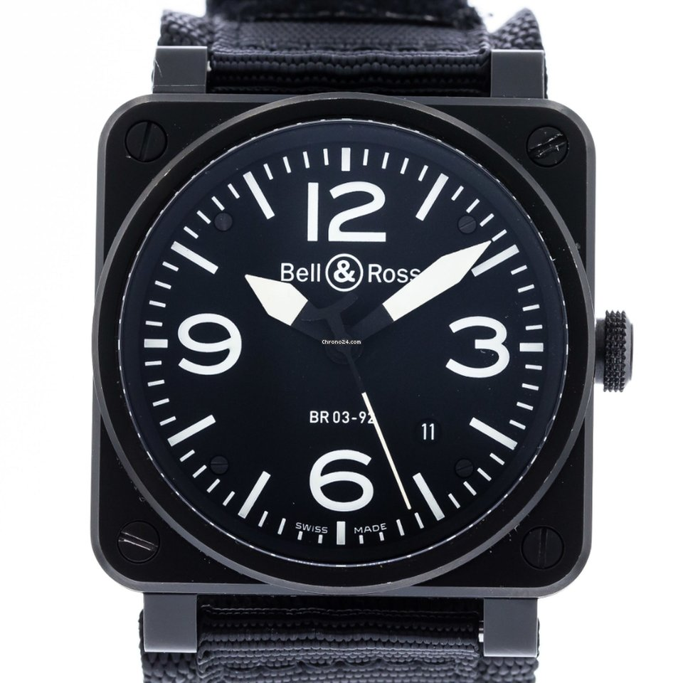 Bell And Ross Watches >> Bell Ross Br03 92 Carbon Watch With Nylon Bracelet And Pvd Stainless Steel Bezel