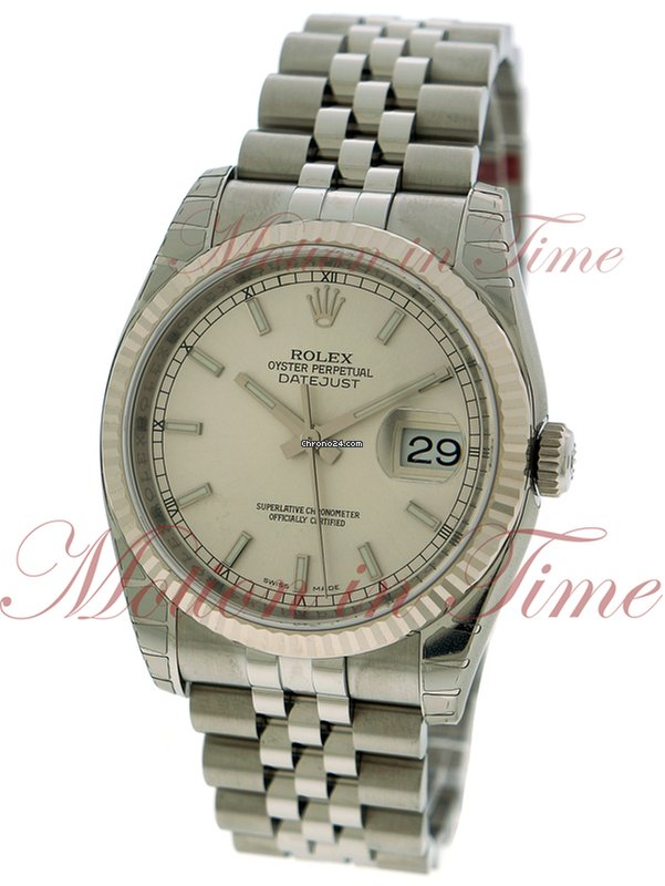 Rolex Datejust 36mm, Silver Index Dial, Fluted Bezel -    for Price on