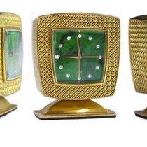 Gübelin Vintage 18kt Yellow Gold & Diamond Malachite Dial Clock