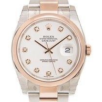 勞力士 Datejust 18k Rose Gold And Steel White Automatic 116201GWT_O