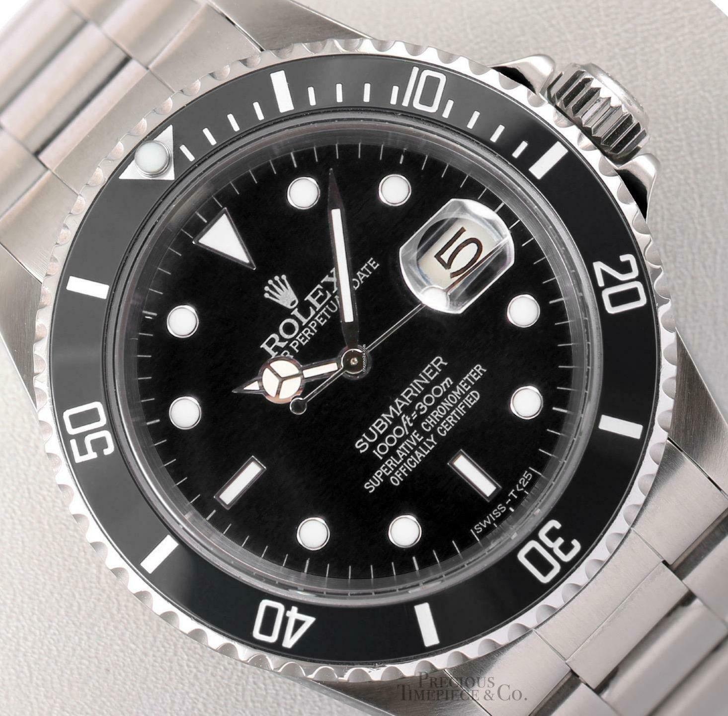 Rolex Submariner 16610 Date Stainless Steel 40mm Watch-Black