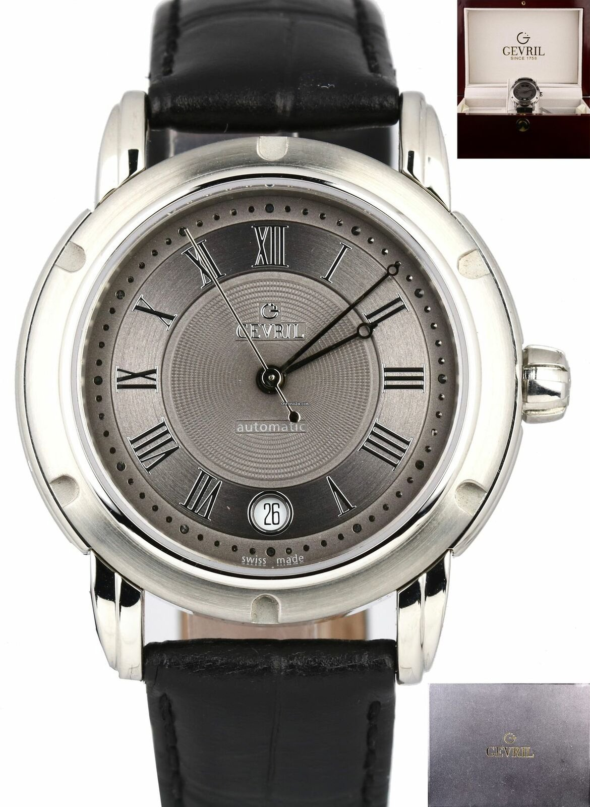 8e2a6715115e Gevril Stainless Steel Roman Numeral Gray Dial Date Leather... for $498 for  sale from a Trusted Seller on Chrono24