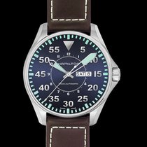 Hamilton Khaki Aviation Pilot Auto Blue Steel/Leather 46mm -...