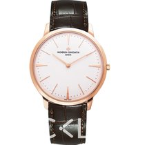 江诗丹顿  Patrimony White 18k Pink Gold/Leather 40mm - 81180/000R-...