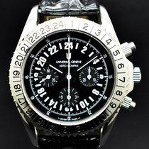 Universal Genève Compax Steel 41mm Black Arabic numerals