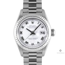 Rolex White gold Automatic White Roman numerals 26mm pre-owned Lady-Datejust