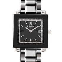 Fendi Quadro Ceramic Quartz Diamond Ladies Watch F621110DDC