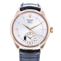 Rolex Cellini Dual Time Rose gold 39mm Silver