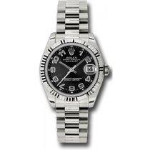 Rolex Oro blanco Negro Arábigos 31mm usados Datejust