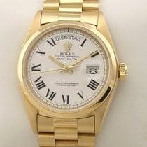 Rolex Day-Date gebraucht 36mm Weiß Datum Gelbgold