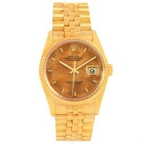 Rolex Date 18k Yellow Gold Wood Dial Mens Watch 16238 Box Papers