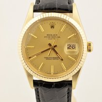Rolex Date Solid 14k Yellow Gold Champagne Dial 15037 Watch