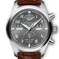 IWC Pilot Spitfire Perpetual Calendar Digital Date-Month Staal 46mm Grijs Arabisch