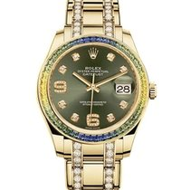 Rolex Yellow gold Automatic Green 39mm pre-owned Pearlmaster