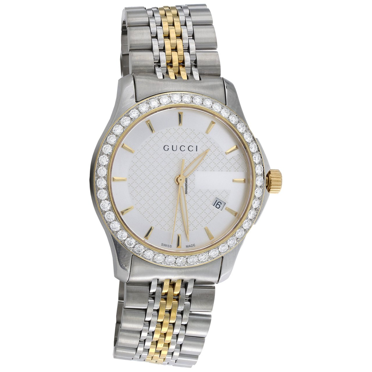 63c4a570f09 Gucci Ya126409 Diamond Watch G-Timeless 38mm Two Tone Yellow S. Steel PVD 2  CT.