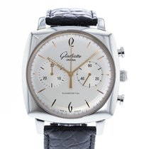 Glashütte Original Sixties Square Chronograph pre-owned 41.3mm Silver Leather