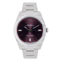 Rolex Oyster Perpetual No-Date 39mm Red Grape Dial Watch 114300