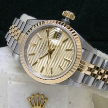 Rolex Lady-Datejust 26mm Champagne Tapestry Dial Fluted Box...