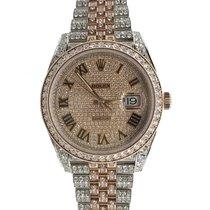 Rolex Datejust II Acero y oro 41mm Marrón Sin cifras