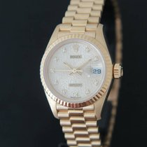 Rolex Datejust Yellow Gold Silver Logo Diamond Dial 69178