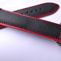 Bodhy 22mm strap - Black , Red Nylon and Leather with Deplo...