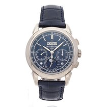 Patek Philippe White gold Manual winding Blue No numerals 41mm pre-owned Perpetual Calendar Chronograph