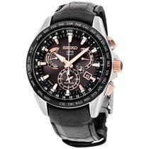 Seiko Astron Solar GPS Dual-Time Men's Black Leather Strap...