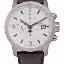 Tissot Men's PRC 200 White Leather Chrono Swiss Automatic...