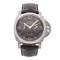 Panerai Luminor 1950 8 Days GMT Титан 47mm Коричневый Aрабские