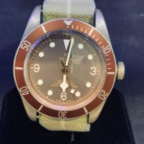 Tudor Steel Automatic Brown Arabic numerals 43mm pre-owned Black Bay Bronze