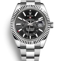 Rolex Steel Automatic Black No numerals 42mm new Sky-Dweller