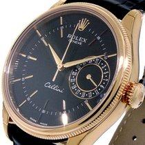 Rolex Cellini Date Růžové zlato 39mm Černá