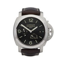 Panerai Luminor 1950 3 Days GMT Power Reserve Automatic Aço 44mm Preto Árabes