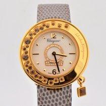 Salvatore Ferragamo Gancino Minuetto Mop Dial Gold Tone Watch