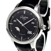 Glashütte Original Platinum Automatic Black No numerals 40.1mm pre-owned Senator Perpetual Calendar
