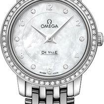 Omega White gold Quartz Mother of pearl 24.4mm new De Ville Prestige
