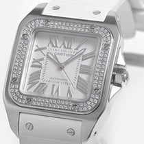Cartier White gold Automatic White Roman numerals 32mm new Santos 100