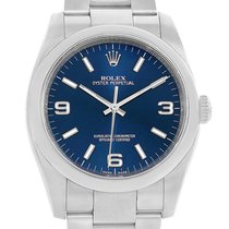 Rolex No Date Blue Dial Domed Bezel Mens Watch 116000 Box Papers
