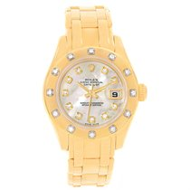 Rolex Pearlmaster Yellow Gold Mop Diamond Watch 80318 Box Papers