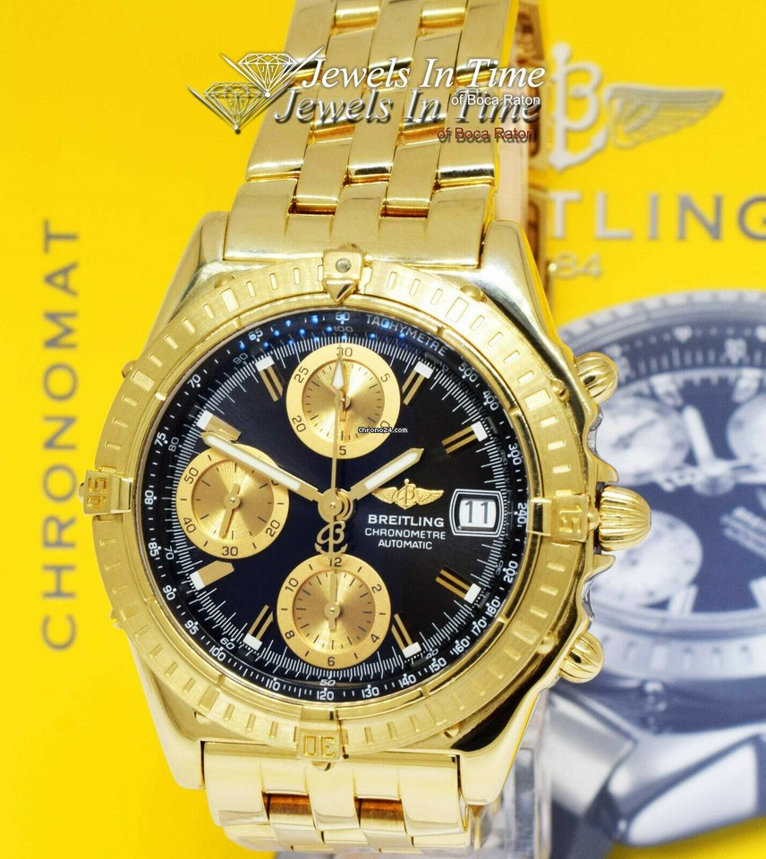Breitling Chronomat 18k Yellow Gold Chronograph Mens Watch Box/Papers K13352